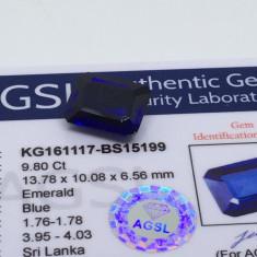 Safir 9.80ct albastru natural Sri Lanka cu certificat
