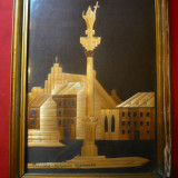 Tablou lucrat cu pai- Warsovia - Columna Sigismunda , dim.= 19,3x14 cm