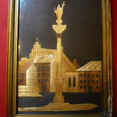 Tablou lucrat cu pai- Warsovia - Columna Sigismunda, dim.= 19, 3x14 cm