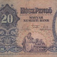 UNGARIA 20 pengo 1941 VF-!!! - bancnota europa