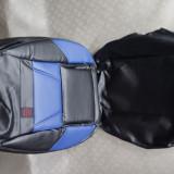 Huse auto negru cu albastru imitatie piele