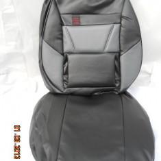 Huse auto negru cu gri din imitatie piele - Husa scaun auto