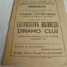 Program meci fotbal - Divizia A - Dinamo Cluj - Locomotiva Bucuresti -7.11.1957