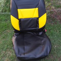 Huse auto negru cu galben din imitatie piele - Husa scaun auto