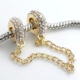 Lant de siguranta pt Bratara PANDORA model GOLD shine plct aur, Femei