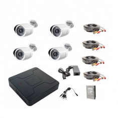 Kit complet 4 camere supraveghere AHD exterior 20m IR +hard 1TB - Laptop Dell