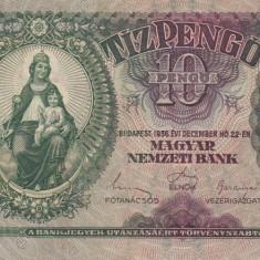 UNGARIA 10 pengo 1936 VF+!!! - bancnota europa