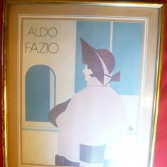 ALDO FAZIO Art Deco lithografie Reco International roz-bleu, 18, 8x24cm - Pictor strain, Scene gen, Pastel