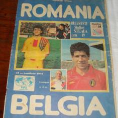 Program meci fotbal - RP Romana - Belgia - 1994