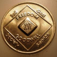 2.322 MEDALIE/JETON FREEDOM NA NARCOTICS ANONYMOUS XVI 34mm, America de Nord