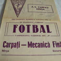 Program meci fotbal Divizia B - Carpati Marsa - Mecanica Fina Bucuresti - 1979