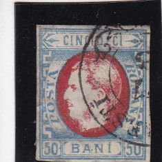 ROMANIA 1869 LP 29 CAROL I CU FAVORITI VAL. 50 BANI ALBASTRU/ROSU STAMPILAT - Timbre Romania