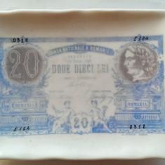 20 LEI-IUNIE 1888-IMPRIMARE PE PORTELAN-RESTIERA DIN PERIOADA INTERBELICA
