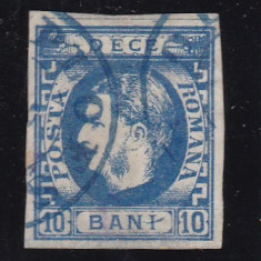 ROMANIA 1869 LP 26 CAROL I CU FAVORITI VAL. 10 BANI ALBASTRU POINCON L. PASCANU - Timbre Romania, Stampilat