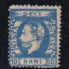 ROMANIA 1872 LP 36 CAROL I CU BARBA DANTELAT 10 BANI POINCON L.PASCANU - Timbre Romania, Stampilat