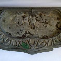 Tava de fonta de la soba teracota veche (cenusar), 40x20cm - Metal/Fonta
