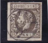 ROMANIA 1871/72 LP 33 CAROL I CU BARBA NEDANTELAT 25 BANI BRUN POINCON L.PASCANU, Stampilat