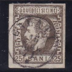 ROMANIA 1871/72 LP 33 CAROL I CU BARBA NEDANTELAT 25 BANI BRUN POINCON L.PASCANU - Timbre Romania, Stampilat