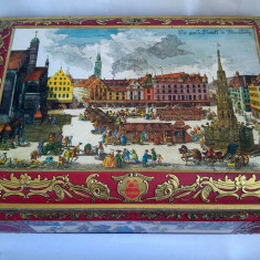 Cutie mare veche de tabla, W. Germany, E. Otto Schmidt Lebkuchen und Honig - Cutie Reclama