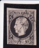 1867 LP 20 d CAROL I  FAVORITI  H/SUBTIRE CU PUNCT IN GREACA  POINCON L.PASCANU, Stampilat