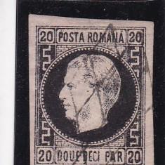 1867 LP 20 d CAROL I FAVORITI H/SUBTIRE CU PUNCT IN GREACA POINCON L.PASCANU - Timbre Romania, Stampilat