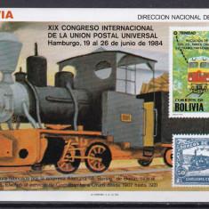 Bolivia 1984 trenuri locomotive MI bl.138 MNH w47 - Timbre straine, Nestampilat