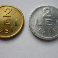 2 LEI 1951 CUPRU-ZINC SI ALUMINIU *** - Moneda Romania