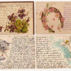 Cinci carti postale circulate la Iasi 1898-99 litografie poezie de dragoste - Carte postala tematica, Circulata, Printata