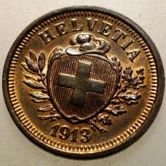 A.019 ELVETIA 1 RAPPEN 1913 XF/AUNC, Europa, Bronz