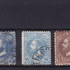 ROMANIA 1880 LP 41 PERLE LOT CU VARIETATI DE CULOARE STAMPILATE - Timbre Romania