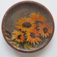 Farfurie decorativa din lemn pictata manual (1)