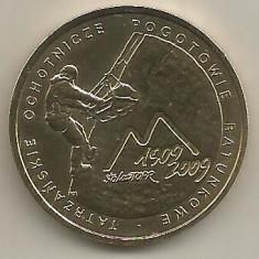 POLONIA 2 ZLOTI 2009 100 ANI TOPR [1] KM 697, XF++, in cartonas, Europa, Bronz-Aluminiu