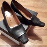 pantofi Lorbac piele mar 38,negru, toc 6 cm