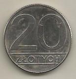 POLONIA  20  ZLOTI   ZLOTYCH  1989   [1]    livrare in cartonas, Europa, Cupru-Nichel