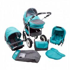 Carucior 3 In 1 Fenix Turquoise gri MyKids - Carucior copii 3 in 1