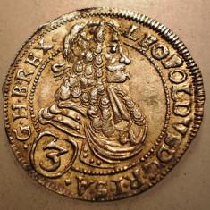 G.345 UNGARIA LEOPOLD I 3 KRAJCZAR 1697 CH XF ARGINT 1, 6g - Moneda Medievala, Europa