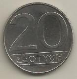 POLONIA  20  ZLOTI   ZLOTYCH  1988   [1]  XF ,  livrare in cartonas, Europa, Cupru-Nichel