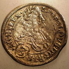 G.344 UNGARIA LEOPOLD I 3 KRAJCZAR 1696 CH XF ARGINT 1, 6g - Moneda Medievala, Europa
