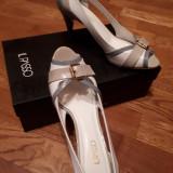 Pantofi Il Passo piele naturala, alb+grej+gri/bleu, mar 38, toc 8 cm