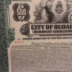 $500 Dolari SUA Aur Budapesta Ungaria  obligatiune municipalala purtator