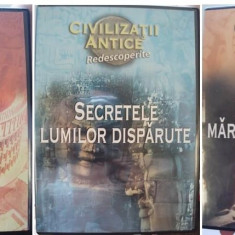 "3 DVD-uri Reader's Digest din seria ""Civilizatii antice redescoperite"" - Film documentare productii independente, Romana"