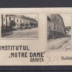 INSTITUTUL NOTRE DAME ORAVITA AUTOMOBILE DE EPOCA - Carte Postala Banat dupa 1918, Necirculata, Fotografie