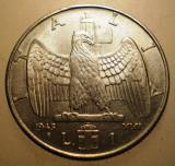 A.435 ITALIA WWII VITTORIO EMANUELE III 1 LIRA 1943 XXI XF RARA MAGNETIC, Europa