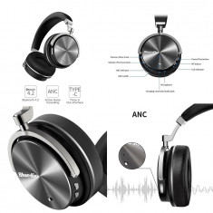 Casti Bluedio T4 Bluetooth 4.2, microfon, Active NoiseCancellation, USB C, Negru, Casti Over Ear, Active Noise Cancelling