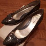 pantofi Hush Puppies piele naturala mar.38, gri,toc 5,5 cm, stare perfecta