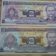 Honduras 2 lempiras 1976 UNC (14 lei) + 2 lempiras 2006 UNC (5 lei) = 19 lei - bancnota america
