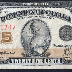 Canada 25 Cents Serie 081267 1923 - bancnota america