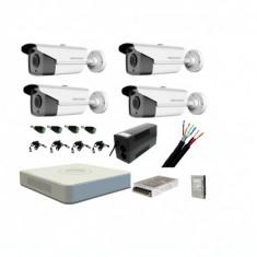 Kit sistem complet 4 camere supraveghere exterior HIKVISION FULL HD 80 m IR +hard 1Tb