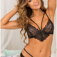 Sutien Sexy cu Barete Colombina, Alb, Negru
