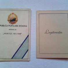 Lot 2 legitimatii pt aceeasi pesoana: Meritul Militar cls 1 & 2, R.P.R. - Brevet